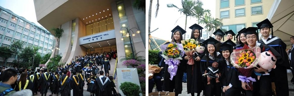 Graduates are taking photo with schoolmates