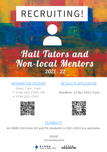 Hall Tutor (HT) and Non-Local Mentor (NLM) Recruitment 2021-2022