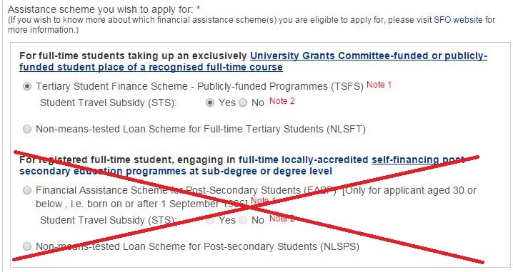 You should select either Tertiary Student Finance Scheme – Publicly-funded Programmes (TSFS) or Non-means-tested Loan Scheme for Full-time Tertiary Students (NLSFT).